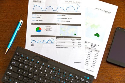 Printed marketing reports showing website analytics